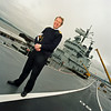 Captain David Snelson on The Ark Royal at Rosyth.