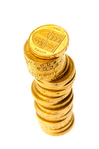 Pound Coins  - A stack of cash