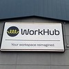 WorkHub panned face wall sign