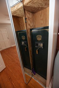 """Unit #3: mirrored hall closet door with 59"""" bunker hill security / gun safe w/ key or 10-key entry"""