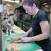 Cristina's Restaurant was getting ready for take out orders on Wednesday afternoon. Chef Debora Baldin cuts up some chicken as she gets ready to make some chicken parmesan another one of the most popular dishes.  SENTINEL & ENTERPRISE/JOHN LOVE