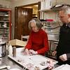 HOLLY PELCZYNSKI - BENNINGTON BANNER  Jill McCain, former owner of Vermont Confectionary ties bows on Vermontsters with new Vermont Confectionary owner Ryan Hassett on Thursday afternoon to prepare for Valentine's Day.