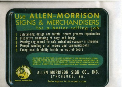 "A Promotional metal sign for ""Allen-Morrison Signs & Merchandisers"" (4268)"