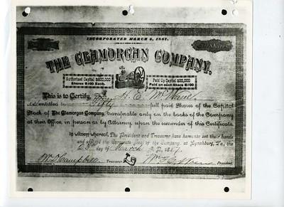 Original Stock Certificate for Glamorgan (08227)