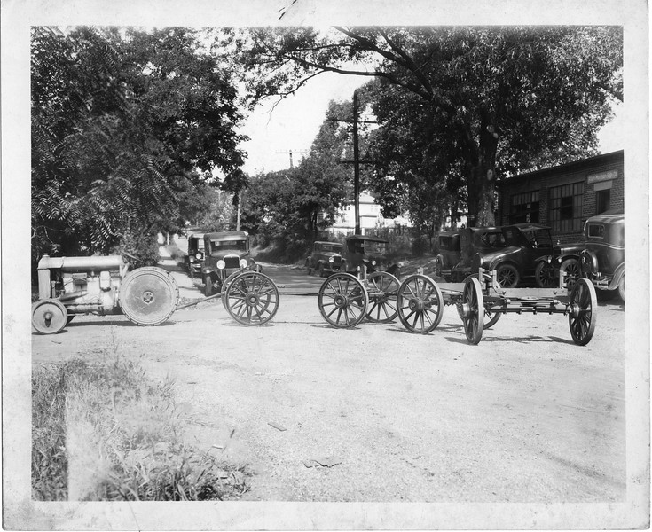 Wagon Undercarriages being transported by tractor for Thornhill Wagon Company (03085)