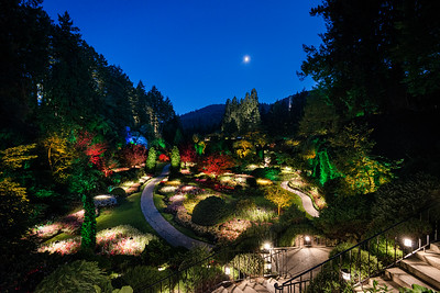 Moon over The Butchart Gardens, at Dusk; located near Victoria on Vancouver Island, British Columbia, Canada