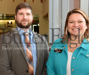 left - right: Trey Skalos and Melinda White, both of Farmers National Bank.