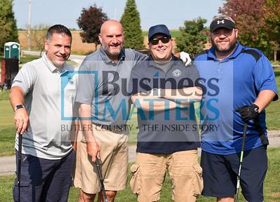 From left, Chad Primrose, Tom Rectenwald Construction; Joe Avi, retired; Dave Burns, Armory Printing; Wayne Allering, Nationwide Insurance.