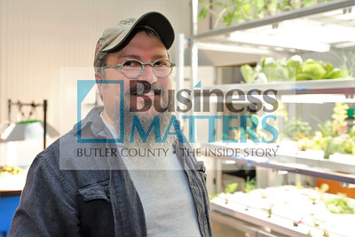 North Country Brewing Co. owner Bob McCafferty in front of the brewery's aquaponics garden, which supplies some of the restaurants greens. Seb Foltz/Butler Eagle  Sept. 2020