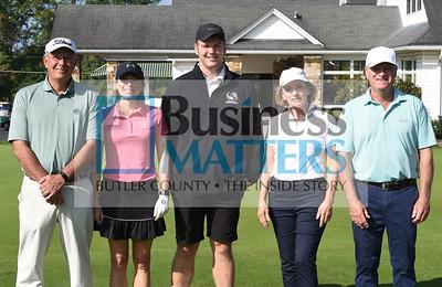 From left: Bernie Hough, pro Wildwood CC, Carrie Ohorodnyk, YMCA Cranberry; Jordan Grady, Butler County Chamber; Barbara Conley and Wayne Conley, both of Butler Tourism