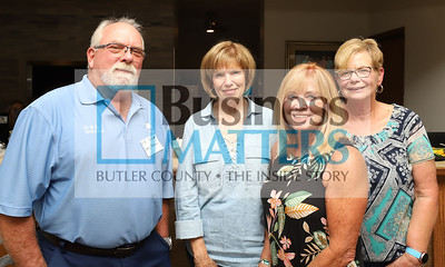 Left to right: Ed Glover, DBS; Karen Hungerford and Cathy Powell with theZelienople Historic Society; Jayne Hill, Hearth & Home.