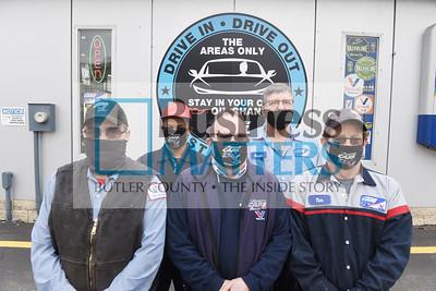 (From left) Tim McFadden, Nathanal Sayles, Ken Frenchak, Fredy Robert, Tim Blakely. Harold Aughton/Butler Eagle.