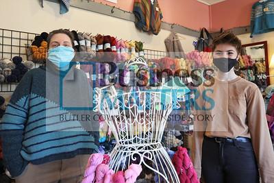 Darn Yarn in Harmony store owner Lisa Krack and Sophia Pagano, sales associate. Seb Foltz/Butler Eagle 02/25/21