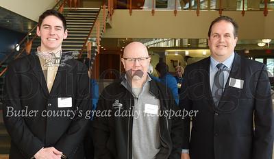 (left - right) Drew Spangler, Butler County Chamber of Commerce; John Morrow, guest; Scott Semrau, CommData.