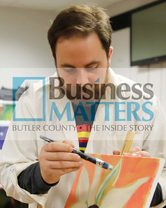 Butler Art Center gallery director Stephen Haley leads the center's Paint Like You class Friday. The center regularly hosts a number of art workshops open to the public. Seb Foltz/Butler Eagle 11/13/20