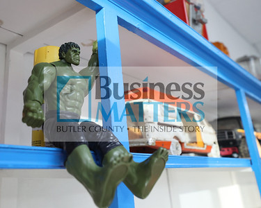 An Incredible Hulk action figure sits on the shelf with other vintage toys at Tokens Arcade. Seb Foltz/Butler Eagle 01/29/21