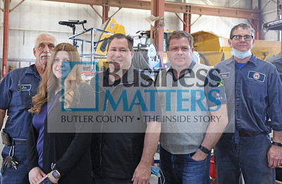Left to right: Jim (need last name) Amy Huffman, Tim Bass, Thomas Reynolds, Dave Parsons Highway Equipment Company. Seb Foltz/Butler Eagle