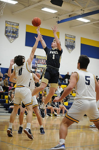 Knoch #1 Adam Bajuszik takes a shot against Freeport during a game at Freeport Gym on Tuesday January 14, 2020 (Jason Swanson photo)