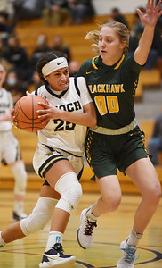 Knoch's Nina Shaw, 25, draws a foul while attempting a layup in the fourth period Friday, March 5, 2021. Harold Aughton/Butler Eagle