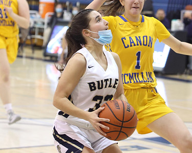 Butler's Aubree Tack capitalizes on a steal with a layup against Canon-McMillan Friday at home. Seb Foltz/Butler Eagle 02/19/21