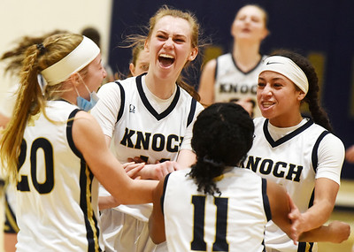 Knoch girls basketball team celebrates their 51 - 45 win over Blackhawk Friday, March 5, 2021. Harold Aughton/Butler Eagle