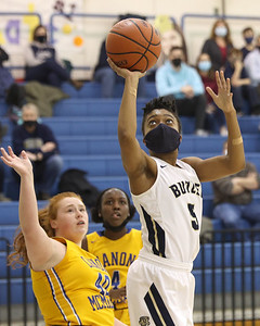 Butler's Sarayne extends to the hoop for a layup against Canon-McMillan Friday. Seb Foltz/Butler Eagle 02/19/21