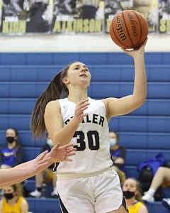 Butler's Mackenna Maier extends to the hoop for a layup against Canon-McMillan Friday. Seb Foltz/Butler Eagle 02/19/21