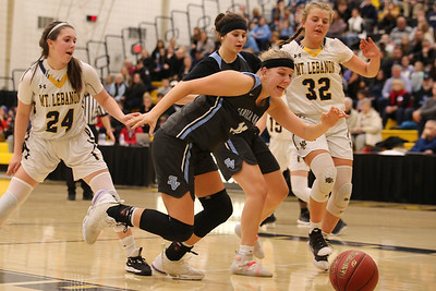 Seneca's Maddie Karchut #15 chases a loose ball against Mt. Lebanon. WPIAL PLAYOFF #13. Seb Foltz/Butler Eagle