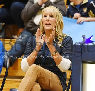 Harold Aughton/Butler Eagle: Knoch's head bocce coach, Mrs. ? Bocci cheers on her team's effort Thursday, January 30, 2020.