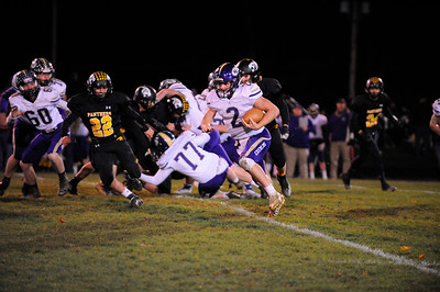Karns City #2 Anthony Kamenski does a quarterback keeper past the Keystone line during a game at Keystone Stadium on Friday November 1, 2019 (Jason Swanson photo)