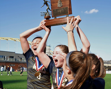 Mars' Ellie Coffield(left) and Taylor Hamlett rais the AAA WPIAL trophy with teamates after topping Plum 4-0 at Highmark Stadium in Pittsburgh, Saturday. Seb Foltz/Butler Eagle