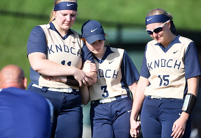 Harold Aughton/Butler Eagle: Knoch's senior Erin Luffy, #11, sophmore Olivia Vissari, #3, and senior Monica Gourley, #15, listen to coach summarize the season after losing to Grove City High School 4-0 in the first round of the PIAA playoffs.