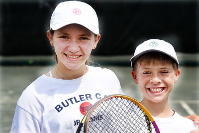 Mark and Allie Swift competed in the Junior Inter-Club Mixed Doubles Team Championship match at the Butler Country Club Thursday morning. Harold Aughton/Butler Eagle.  Harold Aughton/Butler Eagle