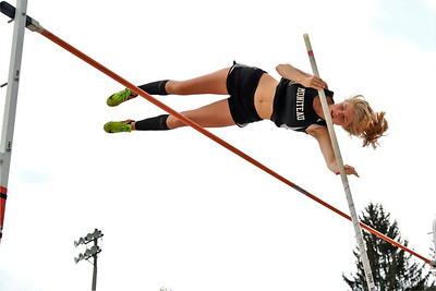 Kendall Grossman of Moniteau clears the bar during District 9 championships. Grossman finished second because of a tiebreak. Seb Foltz/Butler Eagle