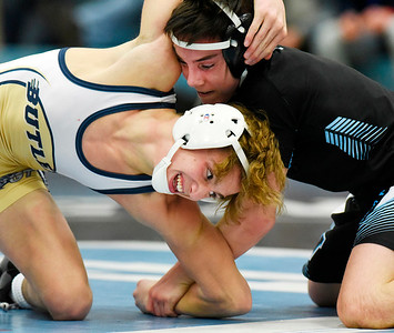 Harold Aughton/Butler Eagle: Seneca Valley's Hunter Swedish defeated Butler's Levi Donnel in the 113 lb. weight class Wed., Dec. 18, 2019.