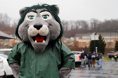 Slippery Rock University mascot 'Rocky' makes his rounds at pregame tailgates prior to SRU's game against Minnesota State Saturday. Seb Foltz/Butler Eagle