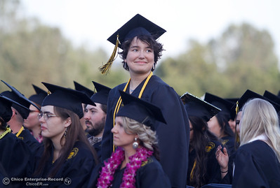 The youngest Butte College graduate Aline Ingelson-Filpula, 16, stands as she and others are recognized for their high grade point average during the commencement ceremony for the Butte College Class of 2016 May 27, 2016 at Butte College in Oroville, Calif. (Emily Bertolino -- Enterprise-Record)