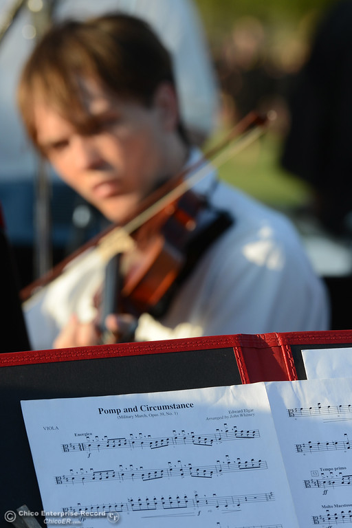""". The Butte College orchestra plays \""""Pomp and Circumstance\"""" Friday, May 26, 2017, as the graduates enter Cowan Stadium in Butte Valley, California.  (Dan Reidel -- Enterprise-Record)"""