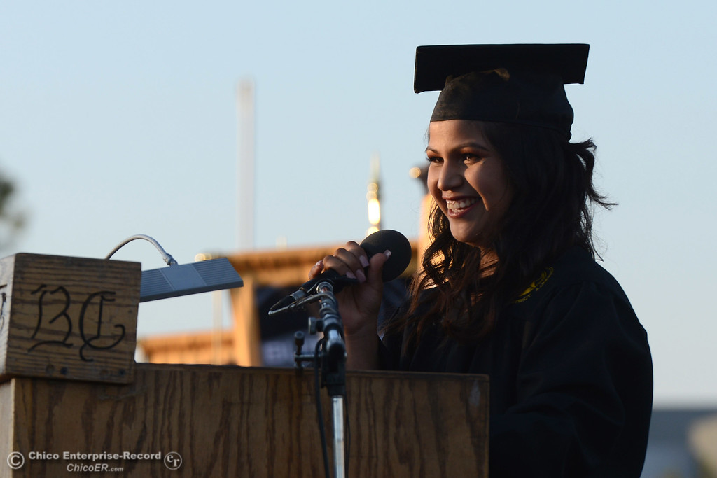 . Julissa Quintero-Leal gives the commencement address as Butte College students graduate Friday, May 26, 2017, at Cowan Stadium in Butte Valley, California.  (Dan Reidel -- Enterprise-Record)