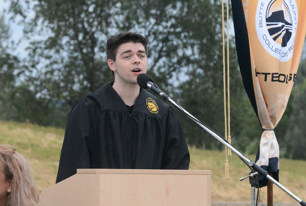 . Marcus Anthony Rutledge sings the national anthem during the Butte College Graduation, May 25, 2018,  in Chico, California. (Carin Dorghalli -- Enterprise-Record)