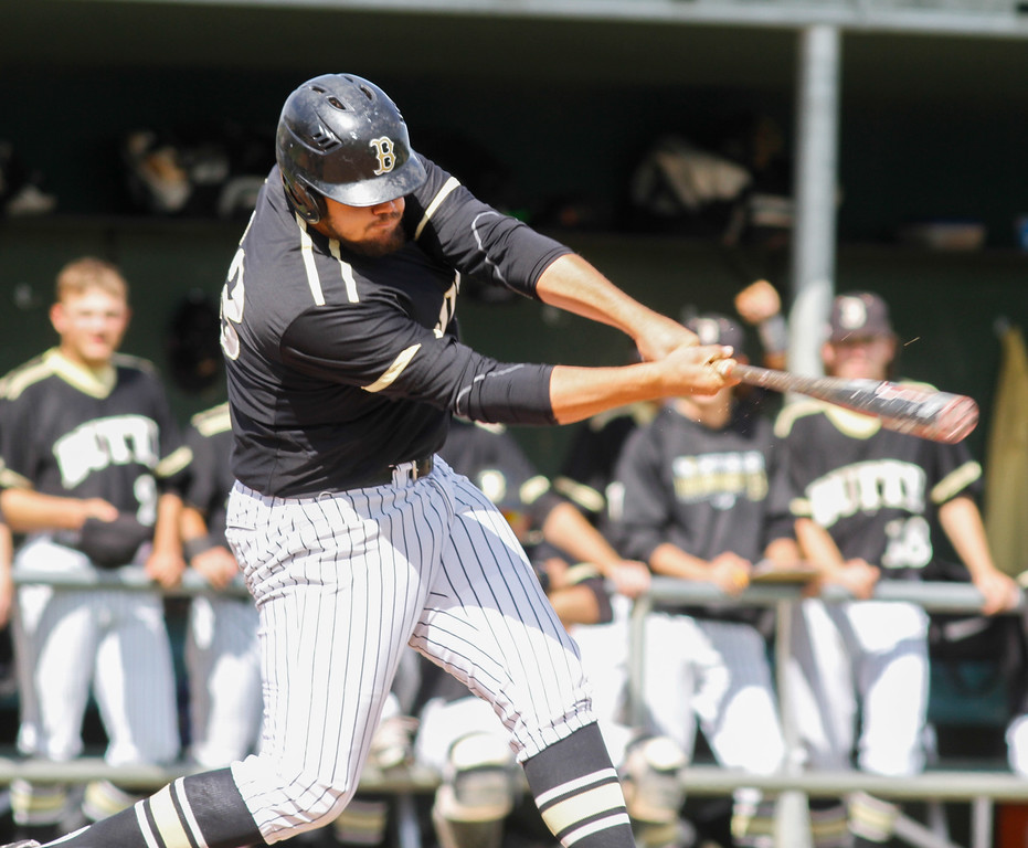 . Butte College\'s Luke Jackson knocks one out of the park to complete a two run home during a baseball game Siskiyous Monday April 10, 2017 at Butte College in Oroville, California. (Emily Bertolino -- Enterprise-Record)