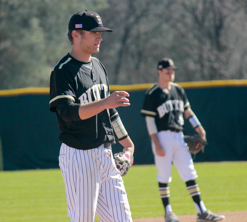 . Butte College\'s third baseman Trenton York during a baseball game against Napa Valley College Monday February 27, 2017 at Butte College in Oroville, California. (Emily Bertolino -- Enterprise-Record)