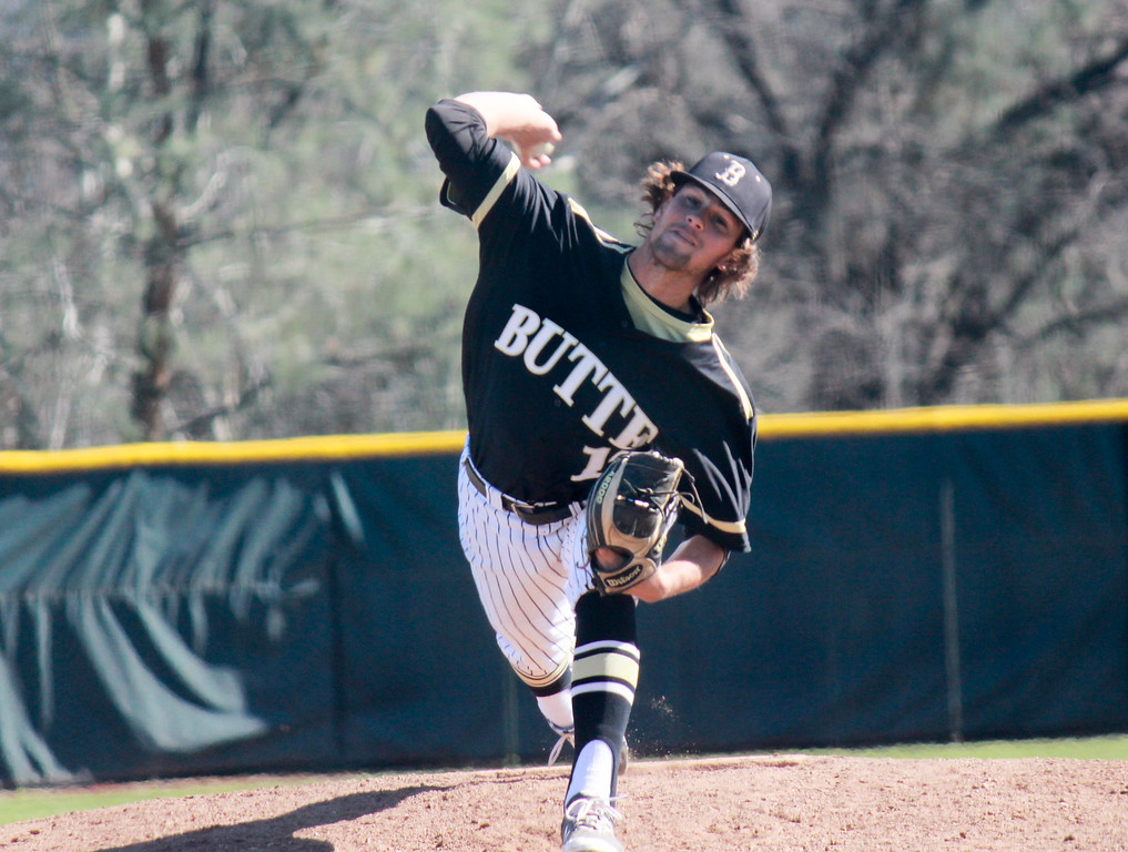 . Butte College pitcher Carson Ellis throws fast during a double header against Napa Valley College Monday February 27, 2017 at Butte College in Oroville, California. (Emily Bertolino -- Enterprise-Record)
