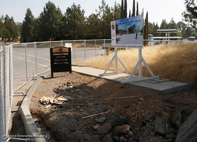 A sign marks the construction of the upcoming welding facility on the first day of school starts Monday, Aug. 20, 2018, at Butte College in Butte Valley, California. (Dan Reidel -- Enterprise-Record)