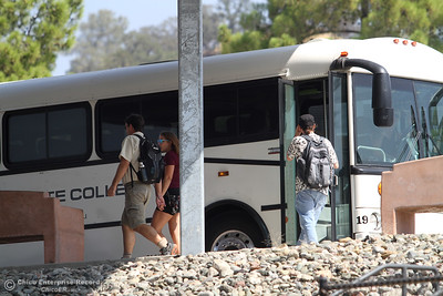 A Butte College bus drops off and picks up students on the first day of school Monday, Aug. 20, 2018, at Butte College in Butte Valley, California. (Dan Reidel -- Enterprise-Record)