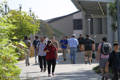Students move between classes on the first day of school Monday, Aug. 20, 2018, at Butte College in Butte Valley, California. (Dan Reidel -- Enterprise-Record)