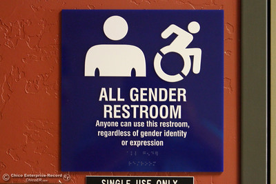 "An ""All Gender"" gender-neutral restroom is seen on the first day of school Monday, Aug. 20, 2018, at Butte College in Butte Valley, California. (Dan Reidel -- Enterprise-Record)"