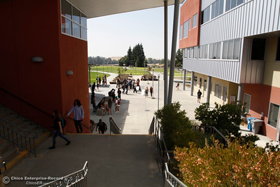 Students socialize, hurry to class and take a tour of campus on the first day of school Monday, Aug. 20, 2018, at Butte College in Butte Valley, California. (Dan Reidel -- Enterprise-Record)