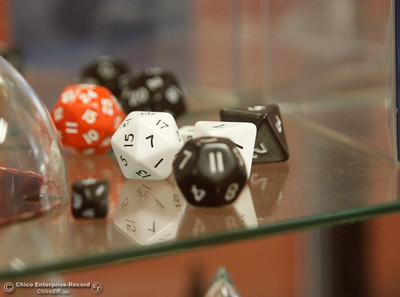 Role-playing dice are seen in a display for the mathematics department on the first day of school Monday, Aug. 20, 2018, at Butte College in Butte Valley, California. (Dan Reidel -- Enterprise-Record)