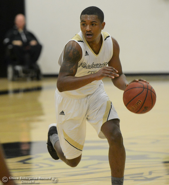 . Butte College\'s Darrien Manker races away for the fast break against Columbia College December 30, 2017 in Butte Valley, California. (Emily Bertolino -- Enterprise-Record)